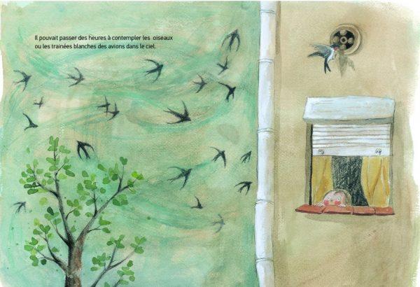 La montagne de livres : Lucas regarde les oiseaux dans le ciel